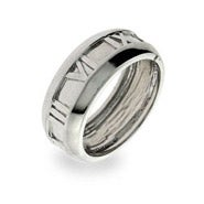 Designer Style Sterling Silver Closed Roman Numeral Ring