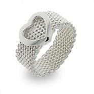 Designer Style Sterling Silver Mesh Heart Ring