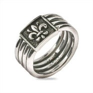 Sterling Silver Four Band Fleur de Lis Ring