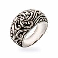 Sterling Silver Bali Style Fleur de Lis Ring