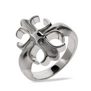 Sterling Silver Fleur de Lis Cross Ring