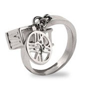 Designer Style Sterling Silver Roman Numeral Charm Ring