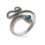 Diamond Cut Sterling Silver Snake Ring