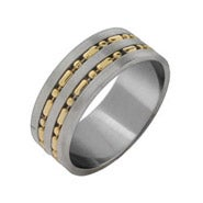 Men's Gold Beaded Stainless Steel Band