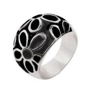 Black Enamel Sterling Silver Daisy Ring