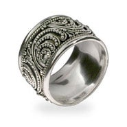 Sterling Silver Wide Bali Band