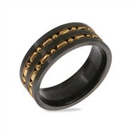 Men's Gold Beaded Black Plate Stainless Steel Band