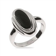Sleek Oval Sterling Silver Onyx Ring