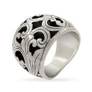 Wide Sterling Silver Bali Ring with Carved Floral Design