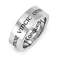 Love Conquers All Stainless Steel Poesy Ring