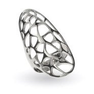 Large Open Filigree Design Oval Silver Ring