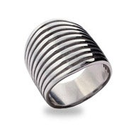 Retro Style Sterling Silver Ten Band Ring