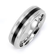 Men's Stainless Steel Band with Single Black Inlay