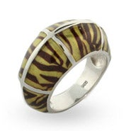 Tiger Print Enamel Sterling Silver Ring