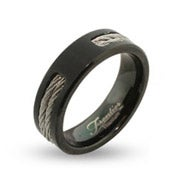 Men's Black Engravable Titanium Signet Ring with Double Cable Inlay