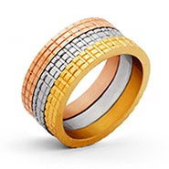 Designer Inspired Three Tone Stackable Ring Set