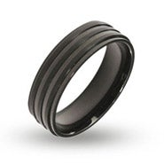 Men's Engravable Ribbed Black Plate Band