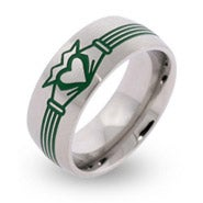Engravable Stainless Steel Green Claddagh Band