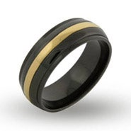 Men's Gold Stripe Black Plate Message Band