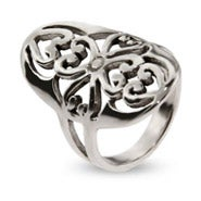Large Sterling Silver Oval Filigree Style Ring