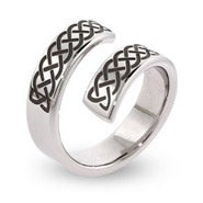 Engravable Celtic Knot Stainless Steel Bypass Ring