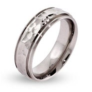 Men's Engravable Hammered Stainless Steel Message Ring