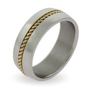 Men's Gold Braid Inlay Stainless Steel Band