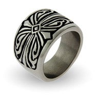 Men's Engravable Tribal Design Stainless Steel Ring