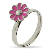 Pink Daisy Enamel Stackable Ring