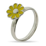Yellow Daisy Enamel Stackable Ring