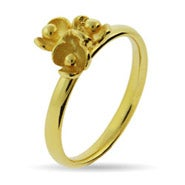 Gold Vermeil Triple Flower Stackable Ring