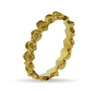 Gold Vermeil Band of Roses Stackable Ring