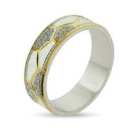 Golden Octet Sterling Silver Wedding Band