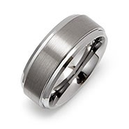 8mm Raised Center Engravable Tungsten Ring