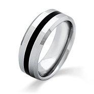 Men's Engravable Black Stripe Beveled Edge Tungsten Ring