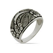 Sterling Silver Dolphin Ring with Floral Design