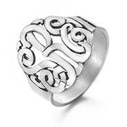 Sterling Silver Custom Monogram Ring