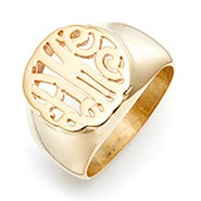 Gold Custom Monogram Signet Ring