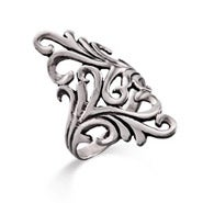 Long Ornate Design Silver Ring