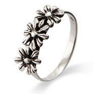 Silver Daisies Petite Sterling Silver Ring