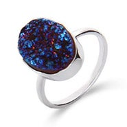 Genuine Blue Drusy Quartz Oval Ring