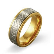 Men's Engraved Two-Tone Stainless Steel Infinity Ring