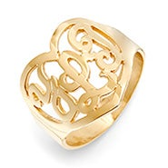Gold Custom Monogram Heart Ring