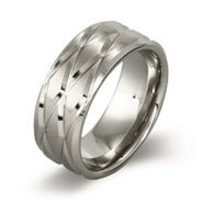 Men's Stainless Steel Cross Cut Beveled Ring