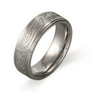 Men's Stainless Steel Tree Bark Design Ring