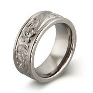 Engravable Handcrafted Heirloom Design Engraved Titanium Ring