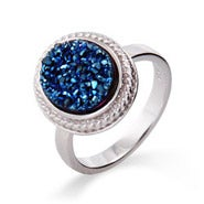 Sterling Silver Oval Cabled Blue Drusy Ring