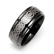 Celtic Design Engravable Black Plate Tungsten Ring