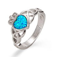 Sterling Silver Opal Claddagh Ring