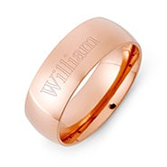 Engravable Rose Gold Plated Comfort Fit Wedding Band